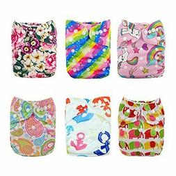 ALVABABY Reuseable Washable Pocket 6 Cloth Diapers +