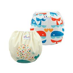 ALVABABY Swim Diapers Large Size 2pcs Pack One Size Reuseabl