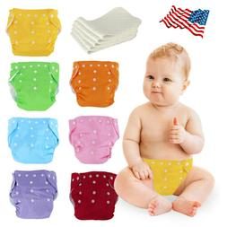 Baby Washable Cloth Diaper Adjustable Reusable Nappies Lot 5