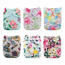 Babygoal Baby Cloth Diapers for Girls, One Size Reusable Was