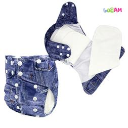 MABOJ Bamboo AIO Cloth Diapers One Size Adjustable Cowboy Pr