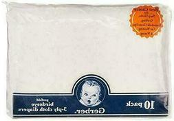 Gerber Birdseye 3-Ply Prefold Cloth Diapers 10 Count - White