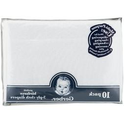 Gerber Birdseye 10 Count 3-Ply Prefold Cloth Diapers, White,