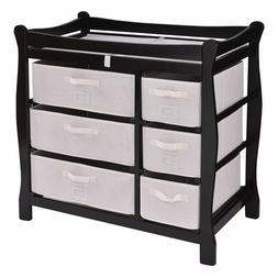 Black Baby Infant Diaper Clothes Changing Table 6 Basket Nur