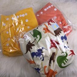 LBB Brand 3 Cloth Diapers w/3 Terry Inserts, Adjustable, Reu