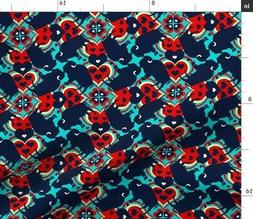 Buffalo Bison Animal Hearts Fabric Printed by Spoonflower BT