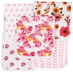 """Baby Burp Cloths For Girls 5 Pack, Large 21""""X10"""", Triple Lay"""