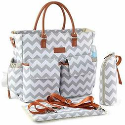 Chevron Diaper Bag, Waterproof Nappy Travel Tote Changing Pa
