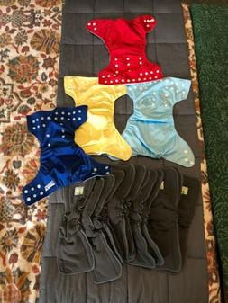 Cloth Diaper Lot 4 Covers/12 Organic Cotton Inserts