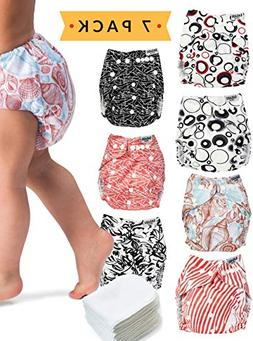 Cloth Diapers - 7 Piece Reusable Diaper Cover Set - Bonus 7