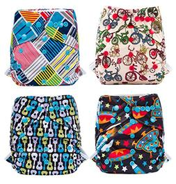 Cloth Diapers Eco-Friendly 4 Pack Adjustable Size Waterproof