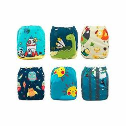 Babygoal Baby Cloth Diapers Washable Pocket Nappy, 6pcs Clot