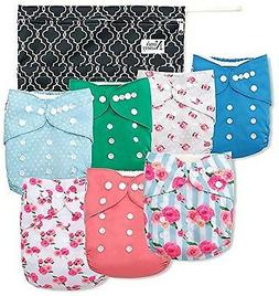 Baby Cloth Pocket Diapers Reusable Nappies  7 Bamboo Inserts