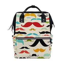 ALAZA Colorful Mustache Diaper Bags Mummy Backpack Multi Fun