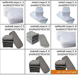 COTTON MICROFIBER CHARCOAL BAMBOO BABY DIAPER CLOTH INSERTS