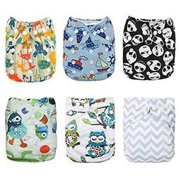 Alva Covers Baby 6pcs Pack Fitted Pocket Cloth Diaper 2 Inse