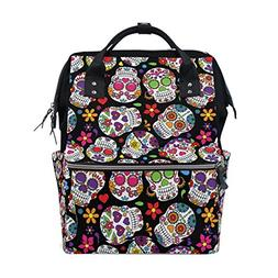 ALIREA Day Of The Dead Sugar Skull Diaper Bag Backpack, Larg