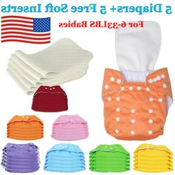 Diaper + Inserts Adjustable Reusable Lot Baby Boy Washable C