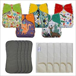 5-Pack Double Gusset Cloth Diaper Covers with Bamboo Cotton