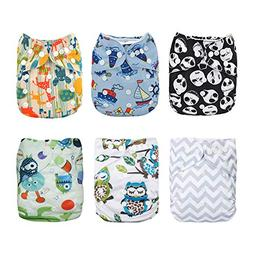 Alva Baby 6pcs Pack Fitted Pocket Cloth Diaper with 2 Insert