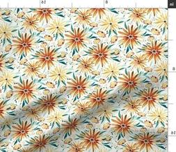 Floral Autumn Fall Kids Natural Spoonflower Fabric by the Ya