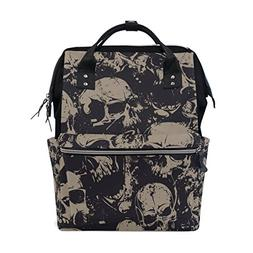 ALIREA Grunge Skulls Diaper Bag Backpack, Large Capacity Mut
