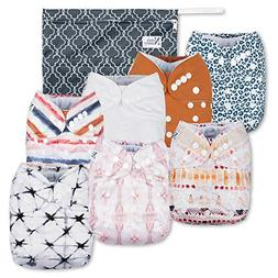 Jungle Cat Baby Cloth Pocket Diapers 7 Pack, 7 Bamboo Insert