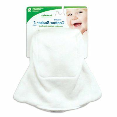 Bumkins 2 Count Contour Soakers, White, Newborn
