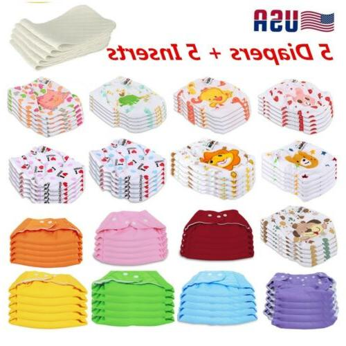 5 diapers 5 inserts adjustable reusable baby