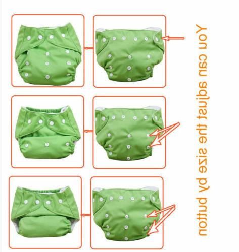 5pcs+ 5Inserts Adjustable Reusable Baby Washable Nappy Soft Diapers