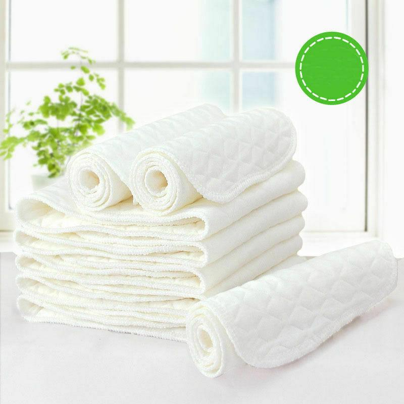 Cotton Cloth Baby Diapers Inserts Liners 3 Layers Reusable F