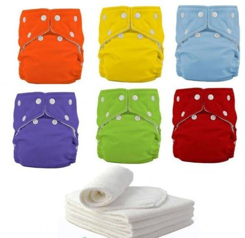 5 diapers 5 inserts adjustable reusable lot