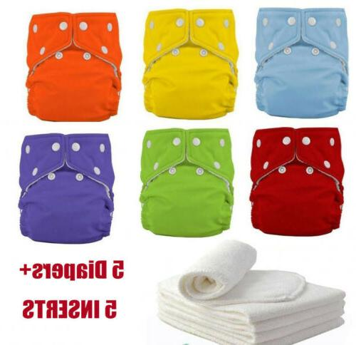 5 diapers 5 inserts adjustable reusable washable