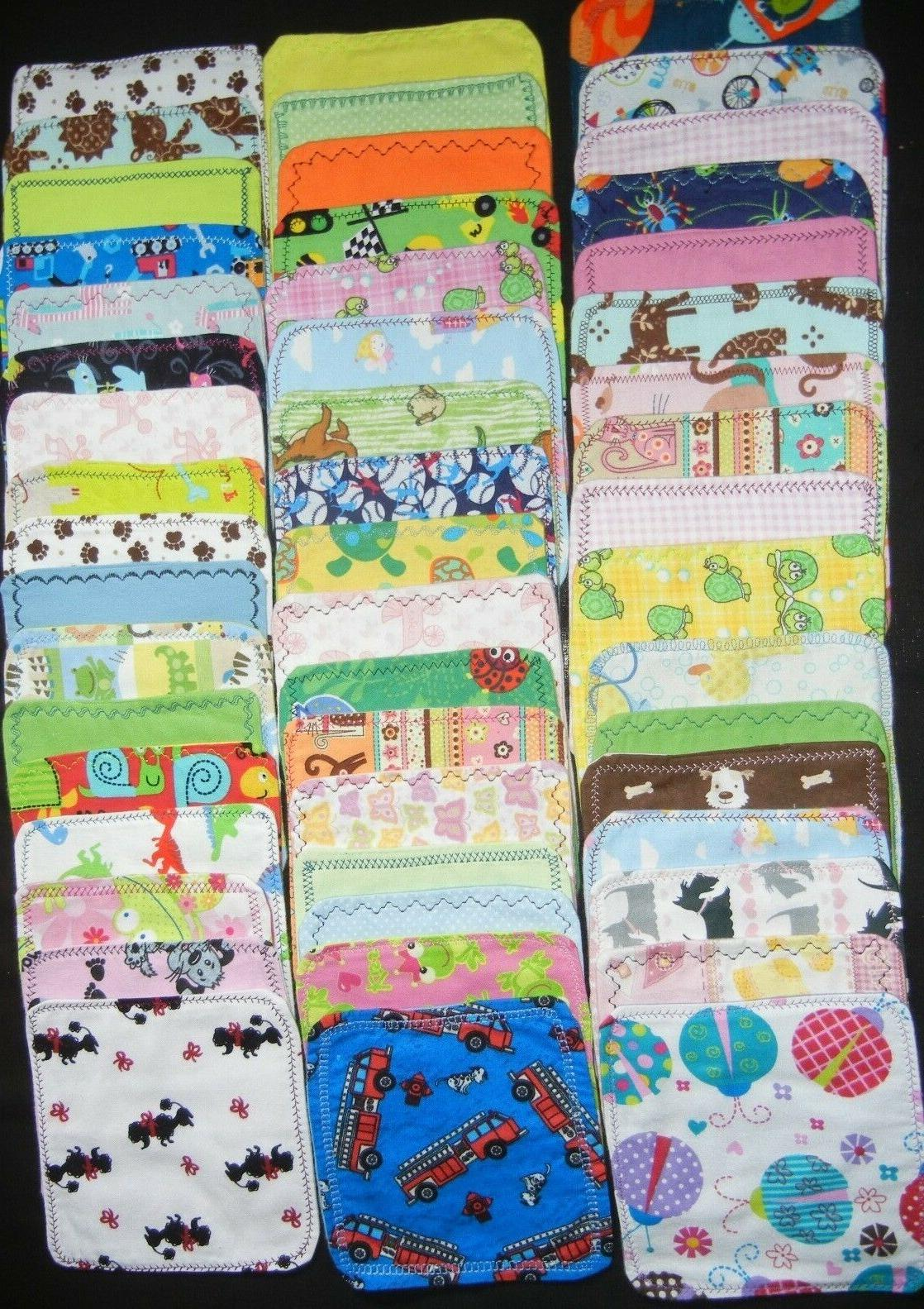 5 handmade cloth wipes washcloths double flannel