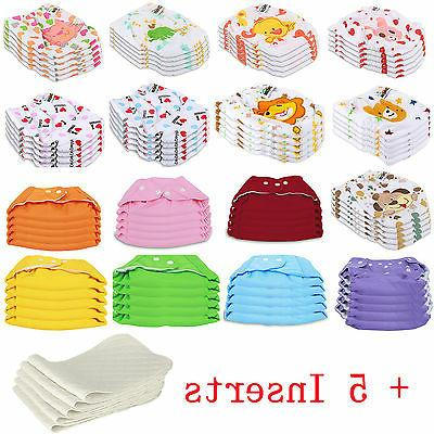 5 PCS+5 INSERTS Cloth Diapers lot Nappies Adjustable Reusabl