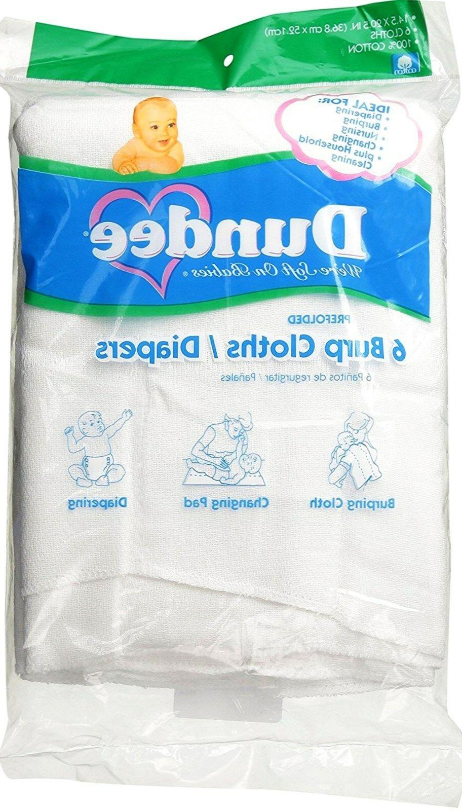 6 burp cloths diapers white 100 percent