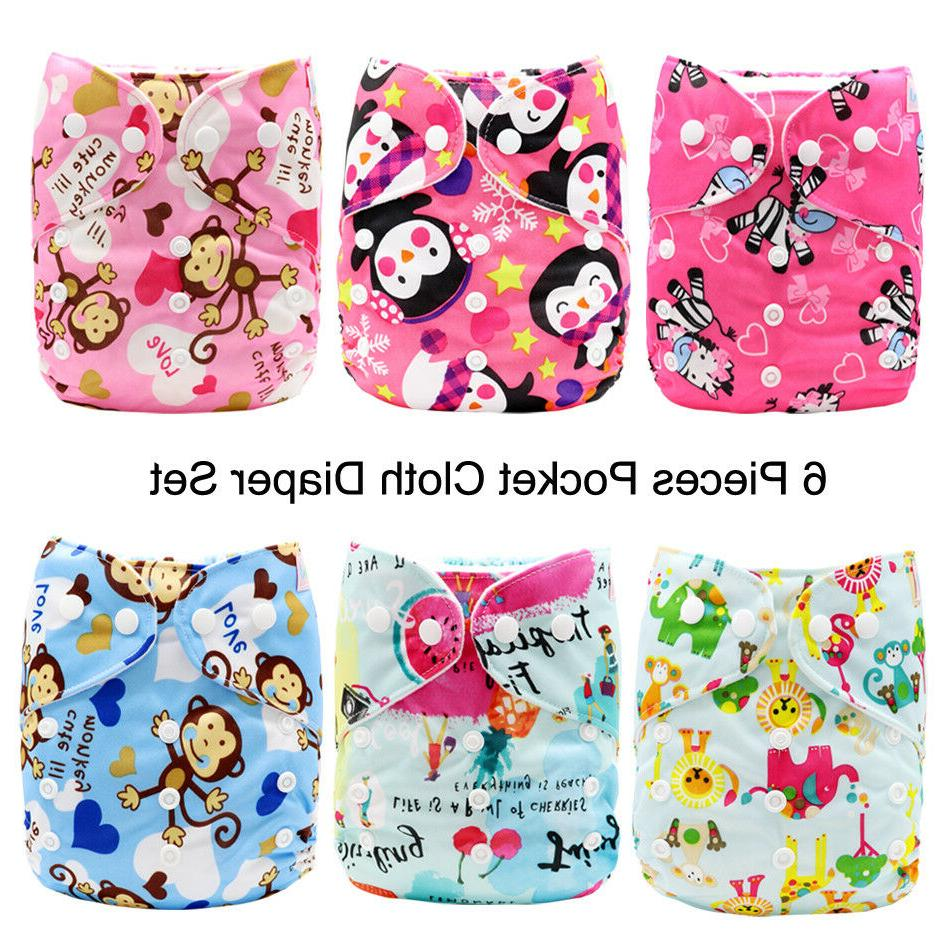 6 pack pocket cloth diapers one size
