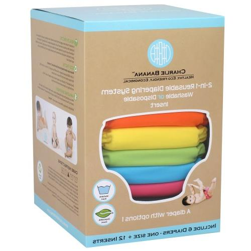 6 reusable diapers 12 inserts