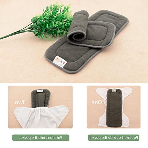 ALVABABY Bamboo Inserts,Natures Cloth liner,5-Layer BambooCharcoalViscoseStapleFiber Inserts,Reusable for Cloth