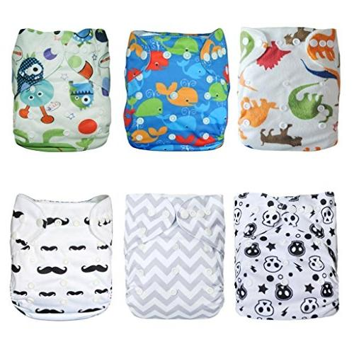 ALVABABY Diapers Washable Adjustable 6pcs with Inserts