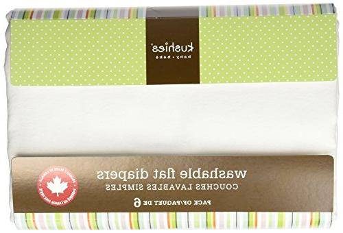 Kushies Pack Flat Diapers, White