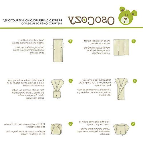 OsoCozy 6 Pack Prefolds Bleached Cloth Diapers,