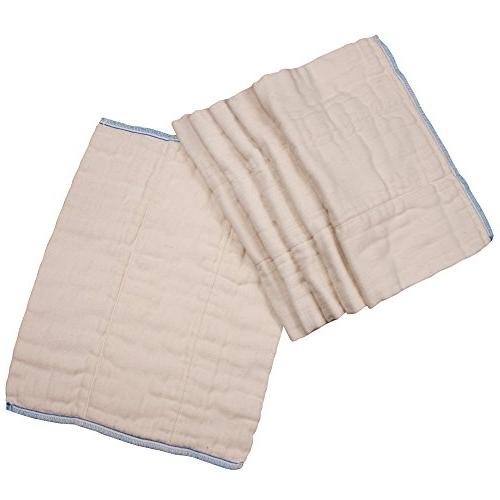 OsoCozy Prefolds Unbleached Cloth Diapers, Size 6 Pack Absorbent Durable Indian Cotton Infant Diapers Highest & Cloth Diapers