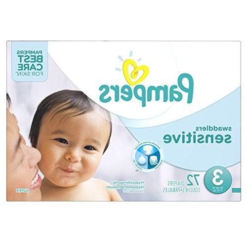 Pampers Swaddlers Sensitive Disposable Diapers Size 3, 72 Co
