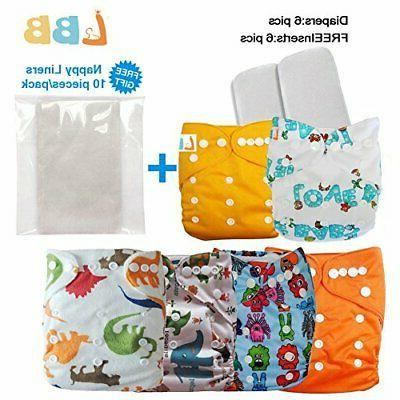 Reusable Baby Cloth Pocket Diapers, 6 pcs + 6 Inserts, Aanim