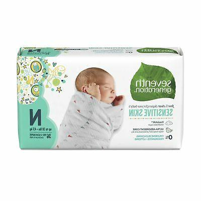 Seventh Generation Baby Free & Clear for Sensitive with Prints, Newborn,