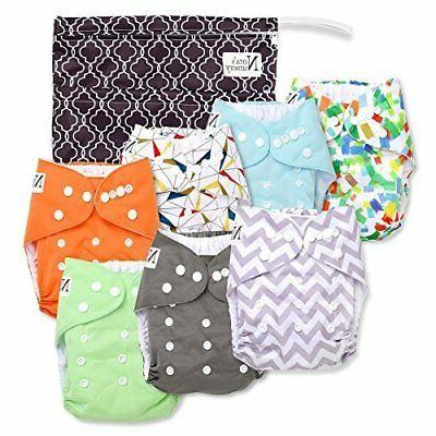 Unisex Baby Cloth Pocket Diapers 7 Pack, 7 Bamboo Inserts, 1