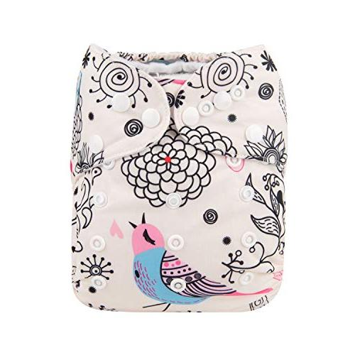 Babygoal Cloth Diaper Size Adjustable Washable for Baby Girls and One Pack 4-Layer