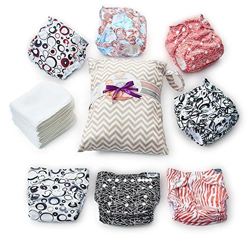 Cloth Piece Diaper Cover Set Bonus Baby Soft Waterproof All One Pack - Unisex Design for & - Shower