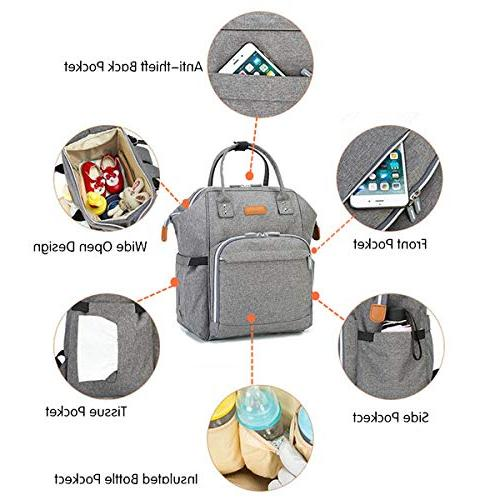 Diaper Bag Baby for Men Women Boys Girls, Large Capacity Pack with Straps, Pockets, Stylish Gift Mom